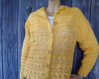 Crochet Cardigan, Yellow Cardigan, Cotton Cardigan, Women's Cardigan Sweaters, Cardigan, Cardigans, Available in M