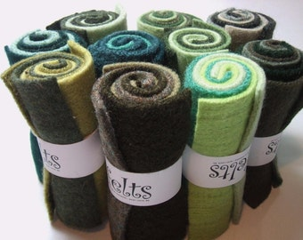 "Green Olive Forest Sage Felted Wool 3 Piece Roll 4.25"" x 6"" Each Handbehg Felts"