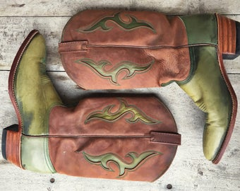 Vintage cowboy boots Women's Size 10 M Dan Post green brown leather cowgirl boots
