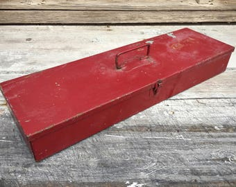 Vintage flat metal tool box red chippy paint with divider for art supplies or industrial decor