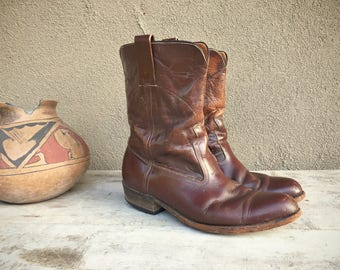 Rare 1950s Frye boots 9 D, Men's boots, brown leather boots, vintage cowboy boots size 9, Western boots, vintage Frye short boot ankle boots