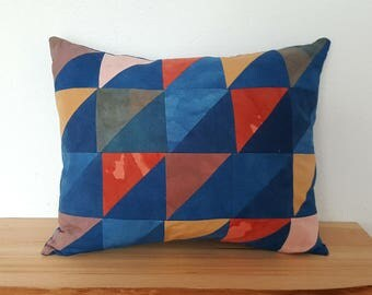 Quilted Triangle Block Pillow on Organic Cotton #2