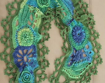 Multicolor Freeform Crochet Blue Green Lace Scarf ,Cotton Wrap, summer crochet shrug, beach knit wear,  Cover Up , Belt,Festival Boho Hippie