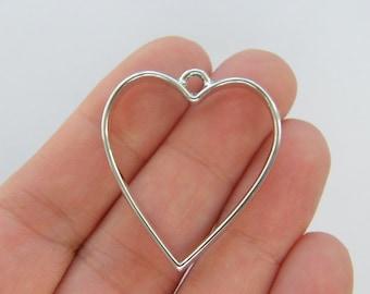 BULK 10 Heart charms silver tone H100
