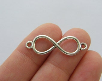 12 Infinity connector charms antique silver tone I103
