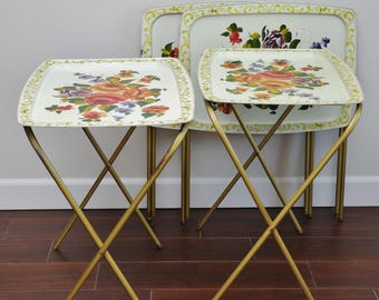 Mid Century Tole Painted Roses Metal Folding TV Trays-Set of 4-Cream Floral Gold