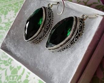 Emerald Green Quartz Crystal Glass Earrings