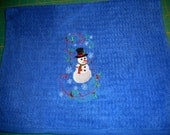 Custom order for Christine Batchelder embroidered kitchen towel with snowman - blue towel