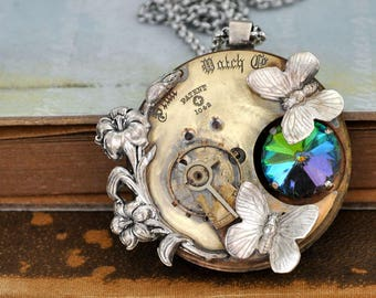 steampunk jewelry, statement piece, LOVE TAKES TIME, antique pocket watch movement necklace with Iris and mystic topaz glass crystal