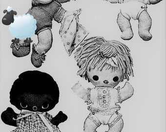 Sewing Pattern digital Download Huggy Babies 8 and 10 inch tall dolls plus clothing - Cloth dolls Stuffies
