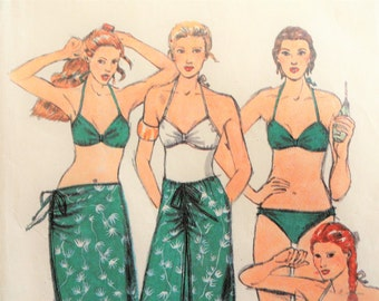 1970s Bikini pattern, swimsuit, skirt, retro 2 piece bathing suit, vintage sewing pattern John Kloss Butterick 6537, misses size 14 bust 36