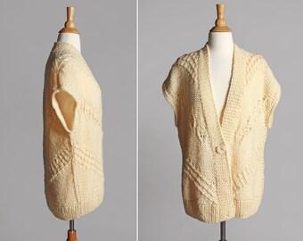 Vintage Ecru Crochet Dolman Cardigan - White Knit Button Up Sweater Tunic 1970's Crocheted Oversize Medium - Size Medium or Large