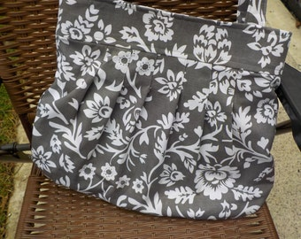 Gray Pleated Purse with White Flowers