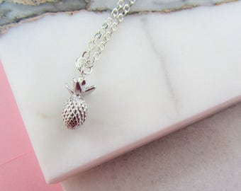 Silver Pineapple Necklace, Silver Necklace,Pineapple,Bridesmaids Gift,Gift for Her,Silver Charm Necklace,Best Friend Necklace,Silver Jewelry