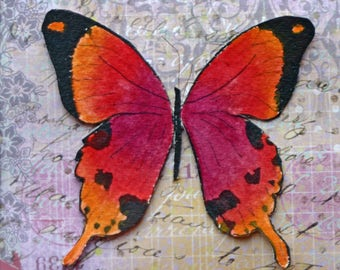 Original watercolor butterfly, raised image, printed page, orange, magenta, matted, small square art, ink, bathroom art, colorful, spring