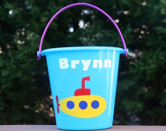 Personalized beach pail with submarine and your child's name