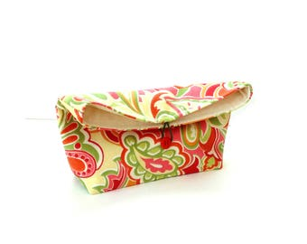 Fold over clutch, citrus colors, fold-over clutch, fold over bag, button closure, handbag, cosmetic bag
