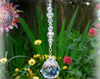 Hanging Crystal Prism Suncatcher, Rearview Mirror Car Charm, Light Catcher Window Ornament, Unique Beaded Rainbow Maker