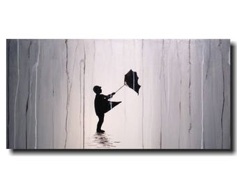 Original Large Silhouette painting - 18 X 36 Inches-by Artist JMJartstudio-Follow Me-Wall art-wall decor --