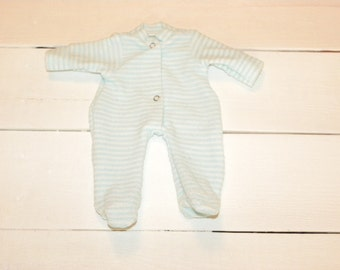 Striped Aqua and White Terry Footed Sleeper - 14 - 15 inch boy doll clothes