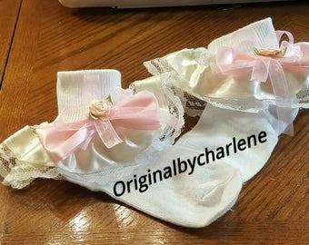 Boutique Custom Made OOAK Fancy Feet Soft Pink and Ivory Ruffle Socks