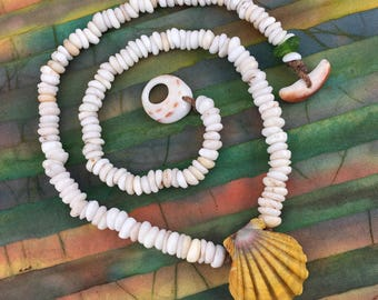 Classic natural puka necklace with Hawaiian sunrise shell pendant