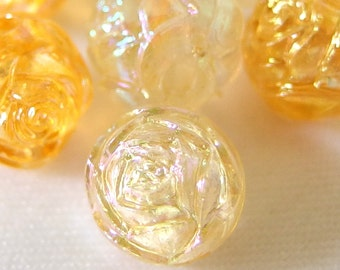 LAST ONE 7 Vintage Clear Gold Aurora Borealis Rosebud Beads, 10mm Acrylic Plastic Beads