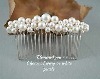 Bridal comb pearl Hair Accessories Wedding hair piece Swarovski white or ivory pearls Beaded silver comb Veil attachment Tiara Fascinator