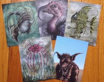 Set of 5 original postcards - Strange Animals