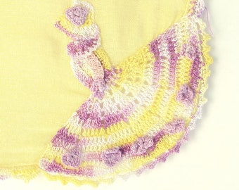 Vintage Crochet Handkerchief, Yellow, Purple, Southern Belle, Sunbonnet Sue