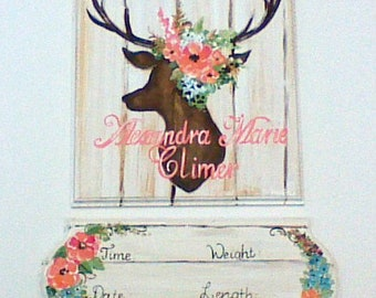 door hanger,girls name,birth announcement,birth details,distressed wood,girly woodland,girly deer theme,deer and flowers,coral and aqua,deer