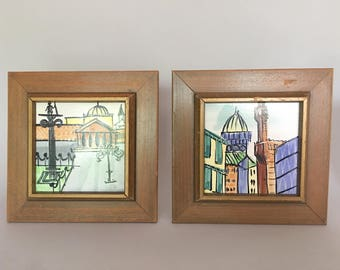 Pair of Vintage Harris Strong Framed Art Tiles Cityscapes