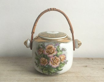 Tilso Teapot With Rattan Handle Japan Floral Gold Accents