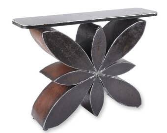 Compass Blossom Console Table Metal Entry or Sofa Table