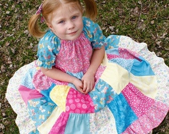 Girls Long Modest Pink, Yellow and Turquoise Tiered Patchwork Peasant Spring Easter Dress Size 4/5