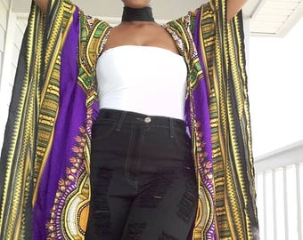 NEW PREORDER Regal Purple and Gold Dashiki Print Full Length Caftan/Cardigan/Swim Coverup,  Made-to-Order LIMITED Edition