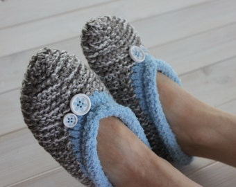 White and gray melange slippers,slippers with buttons,women slippers size 36 -37 EU,US 6-7, warm slippers ballerinas,slippers ready to ship