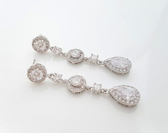 Long Wedding Earrings Crystal Long Bridal Earrings Cubic Zirconia Teardrop Earrings , Reagan