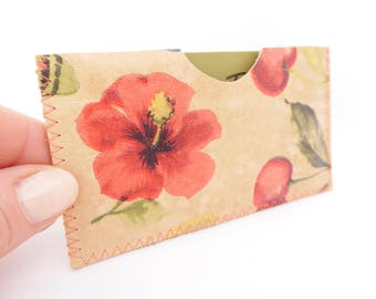 Leather Business Card Holder, Leather Card Case, Hibiscus Print Card Sleeve, Business Card Case