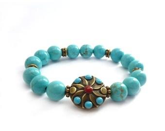 Beaded Turquoise Stacking Bracelet - Southwestern Style - Bronze Focal Bead - Boho Bracelet - Turquoise Jewelry