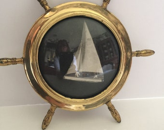 Vintage Brass Nautical Ships Wheel Picture Frame