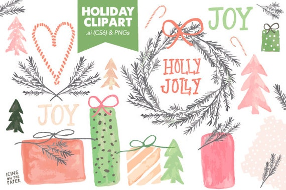 Christmas Presents and Wreath Clip Art - Holiday - Watercolor - Clipart - Polka Dot - VECTOR & PNGs