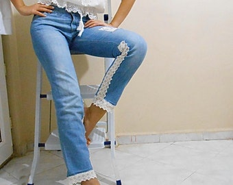 Upcycled Denim Jeans Pants Embellished With Crochet Lace Distressed Jeans straight leg