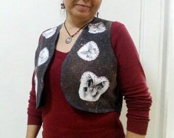Boho Waistcoat, Butterfly Applique waistcoat Bohemian layering Vest Size Large
