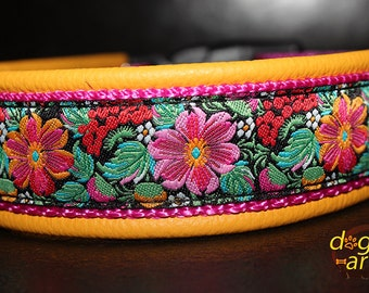"Dog Collar ""Tropic Garden"" by dogs-art, leather dog collar, yellow dog collar, floral dog collar, dog collar leather, dog collar colorful"