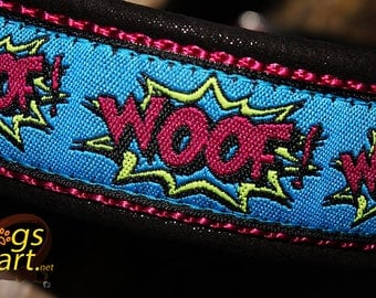 "Dog collar ""Woof"" by dogs-art, martingale collar, comic dog collar, leather dog collar, woof, dog collar leather, limited slip collar"