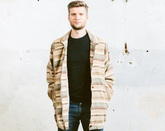 Vintage AZTEC Striped Coat . Mens Southwestern Brown Beige Long Oversized Jacket Winter Outerwear .  size XL / XXL