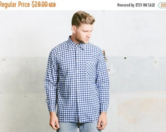 WEEKEND SALE . Vintage 70s Gingham Shirt . Blue White Gingham Checkered Long Sleeve Normcore Men's Button Down Shirt 1970s . size Large