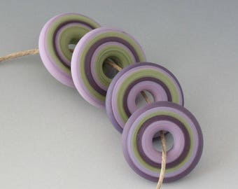 Southwest Disk Pairs- (4) Handmade Lampwork Beads - Lavender, Green - Etched, Matte