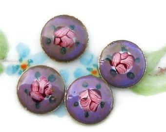 Vintage Guilloche Enamel Cabochons Sterling Silver Rose Floral Cloisonne 12mm